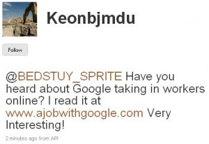 King Nussbaum Keonbjmdu on Twitter 1251798424361 300x206 New Twitter spam bomb offers A Job With Google
