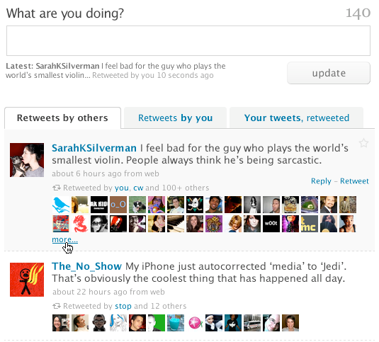 Screen shot 2009 09 18 at 22.48.09 What Twitters new Retweet system may well look like