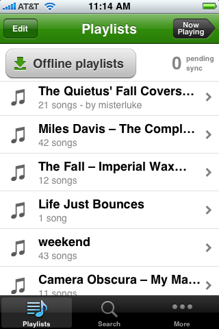 playlists the main screen Spotify iPhone App: First Impressions