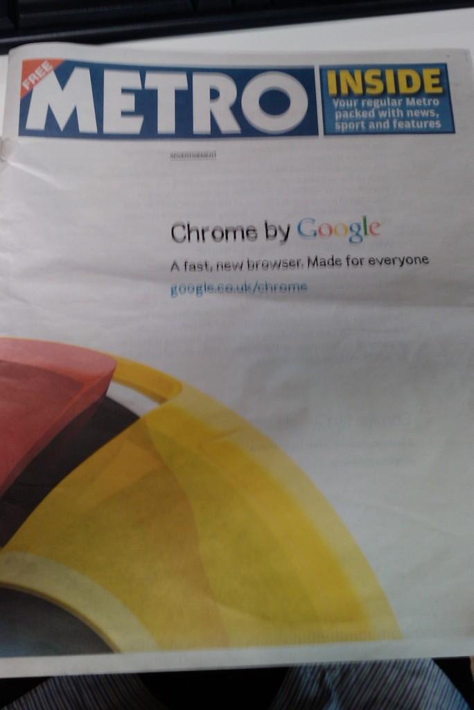 Google Chrome newspaper ad