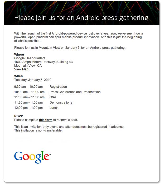 androidinvite1 Am 5. Januar ist es soweit: Google beginnt mit dem direkten Verkauf des Google Phone!