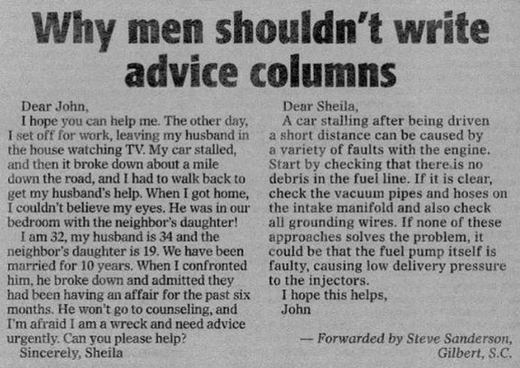 columns Why men shouldnt write advice columns