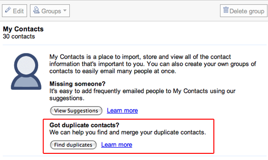 "Gmail adds ""merge all duplicate contacts"" button. Works wonderfully."