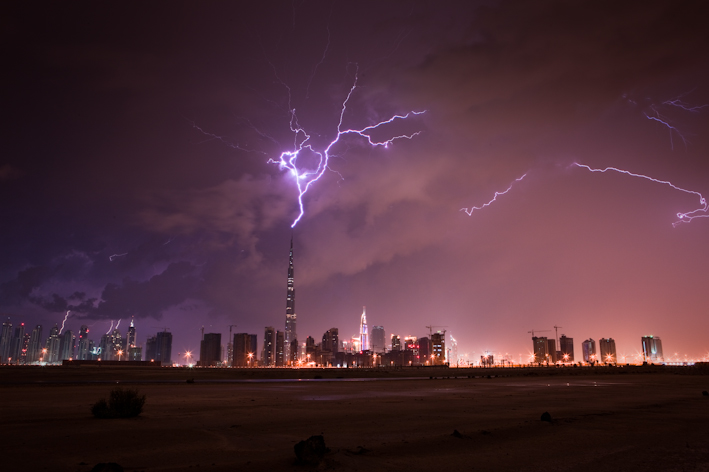 Burj Khalifa Lightning 3 When lightning strikes the tallest building in the world