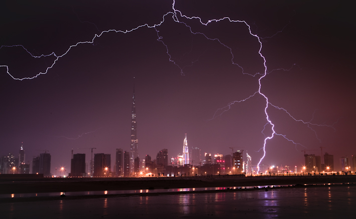 Burj Khalifa Lightning 6 When lightning strikes the tallest building in the world