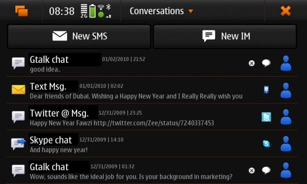 Nokia N900's Conversations App (contact names have been replaced with conversation type)