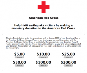 redcrossitunes Donate to Haiti through iTunes. Now.