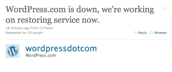 Picture 20 Wordpress.com is down, taking over 9.2 million blogs with it. [Update: Its Back Up]