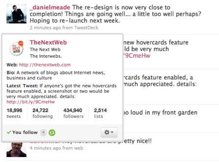 Picture 62 Twitter introduces Hovercards, a quicker way to check out someones profile.