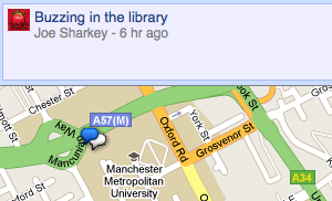 Google Buzz on a map on a desktop browser