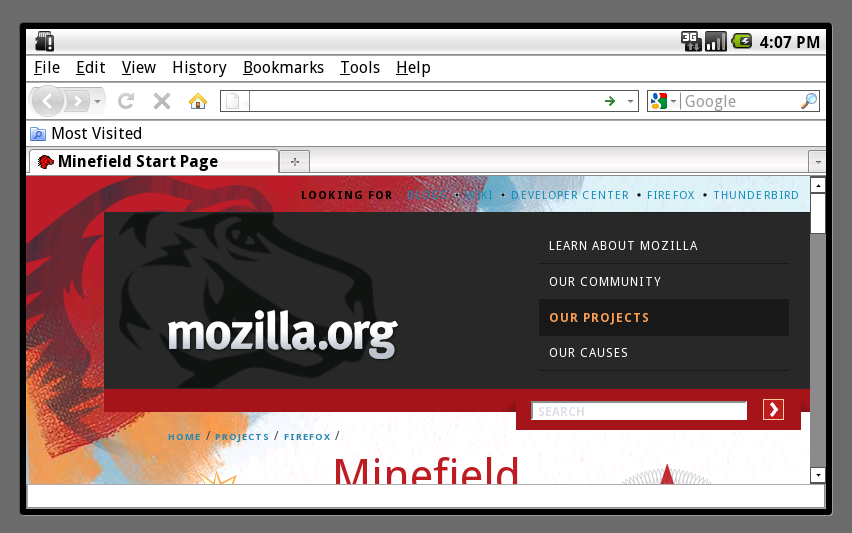 first page android firefox