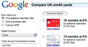google comparison ads Google now lets you compare credit cards... if youre lucky (Updated)