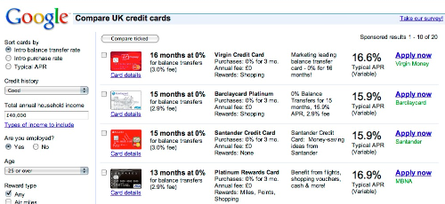 google comparison ads2 Google now lets you compare credit cards... if youre lucky (Updated)