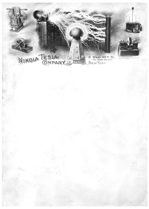 nikola tesla company letterhead
