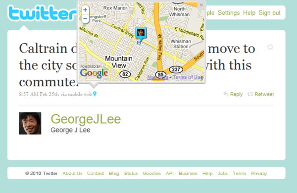 73579866 1 Twitter Turns on Tweet Your Location, Mapping Tweets on Twitter.com.