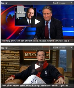 colbert stewart 251x300 Daily Show And Colbert Report To Leave Hulu, Others To Follow?
