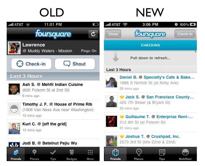 friends The Foursquare iPhone App Redesign: A Side by Side Comparison