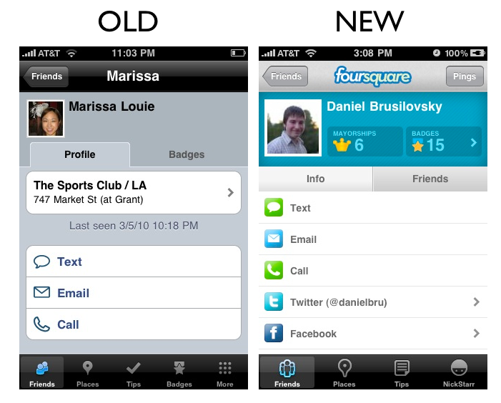 friends2 The Foursquare iPhone App Redesign: A Side by Side Comparison