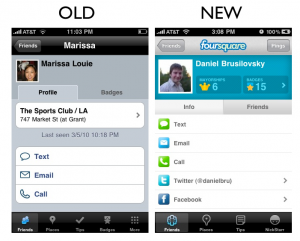 friends22 300x241 The Foursquare iPhone App Redesign: A Side by Side Comparison