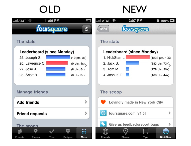 leaderboards The Foursquare iPhone App Redesign: A Side by Side Comparison