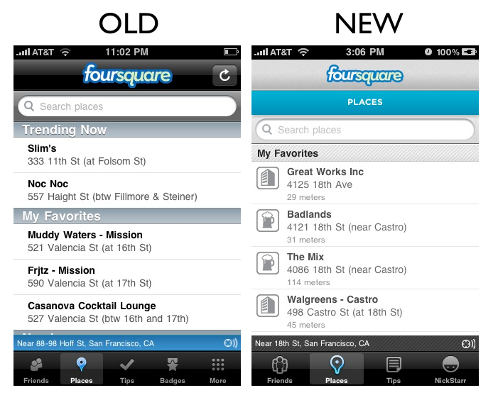 places The Foursquare iPhone App Redesign: A Side by Side Comparison