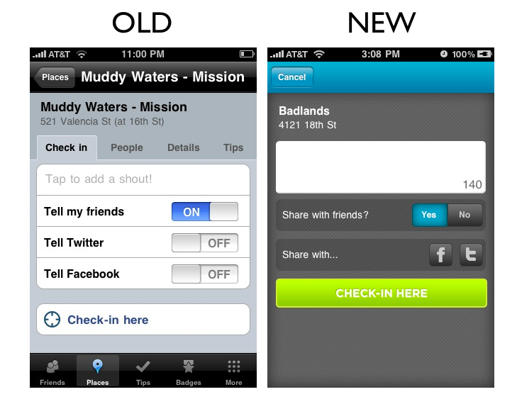 places41 The Foursquare iPhone App Redesign: A Side by Side Comparison
