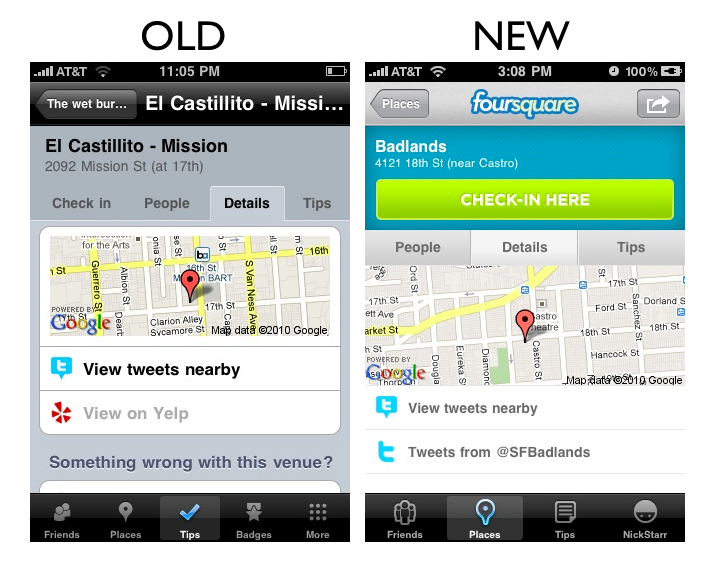 places6 The Foursquare iPhone App Redesign: A Side by Side Comparison