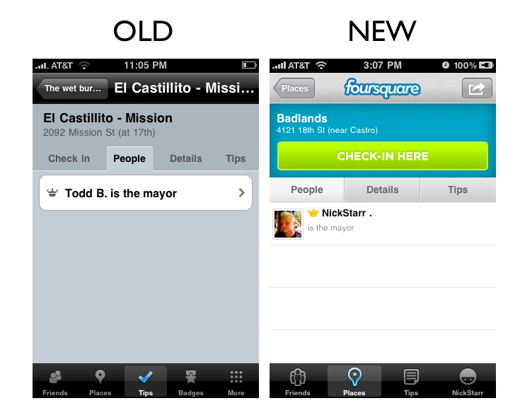 places7 The Foursquare iPhone App Redesign: A Side by Side Comparison