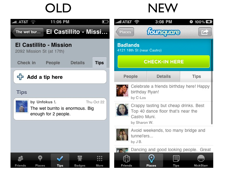 places8 The Foursquare iPhone App Redesign: A Side by Side Comparison