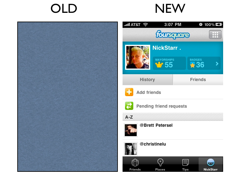 profile1 The Foursquare iPhone App Redesign: A Side by Side Comparison