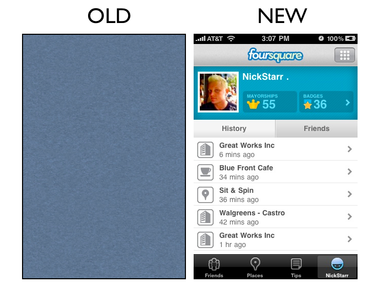 profile2 The Foursquare iPhone App Redesign: A Side by Side Comparison