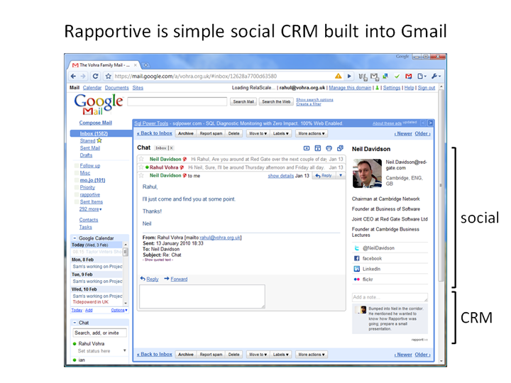 rapportive slide 1 Gmail Gets a Slick Social CRM Tool. Youre Going to Like This.