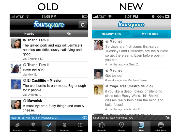 tips1 The Foursquare iPhone App Redesign: A Side by Side Comparison