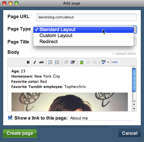 tumblr static pages