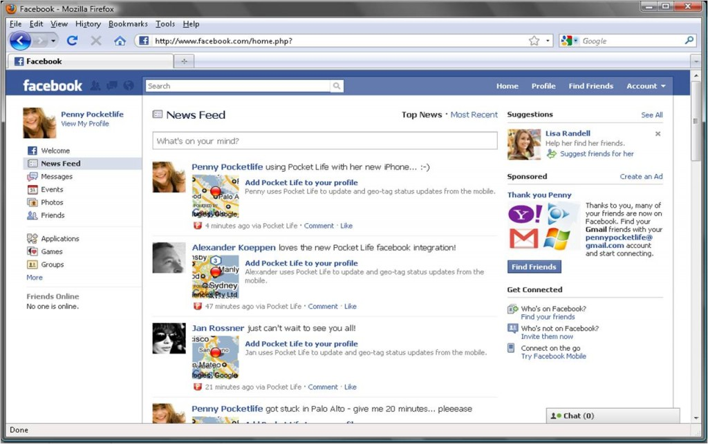 02b facebook newsfeed 1024x643 Pocket Life wins race to bring real time location based social networking to Facebook