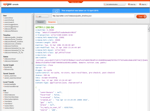 Apigee API Console for Twitter