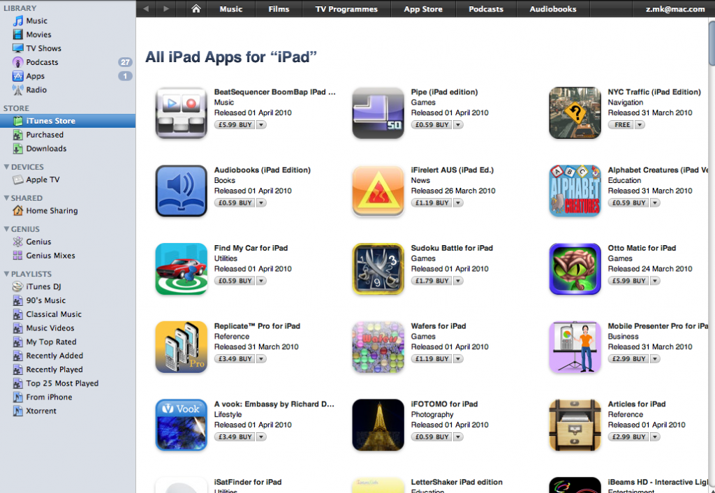 iPad Apps Now Showing in iTunes