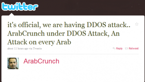 ArabCrunch DDoS Attack Tweet