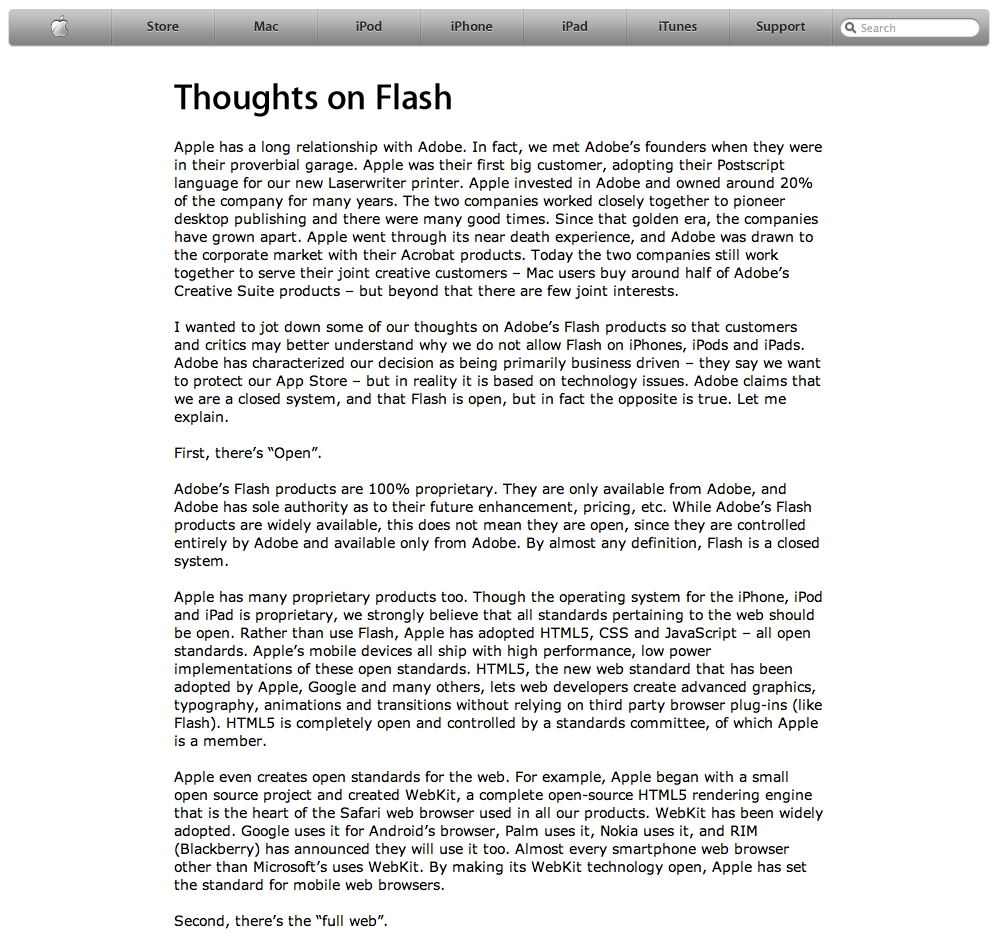 jobsonadobe Steve Jobs: Gedanken über Adobe Flash