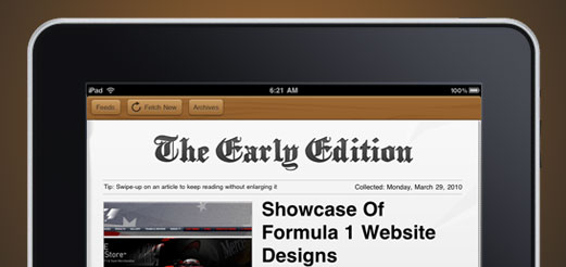 the early edition main Early Edition: This Gorgeous iPad RSS Reader Might Just Become Your Morning Read