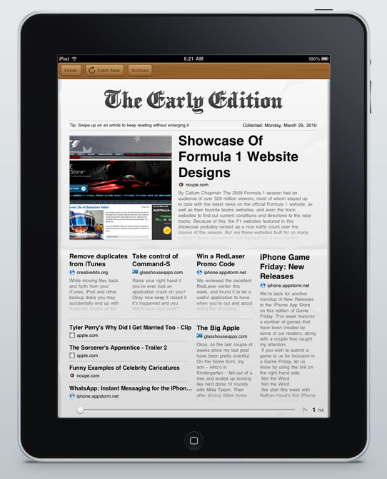 the early edition22 Early Edition: This Gorgeous iPad RSS Reader Might Just Become Your Morning Read