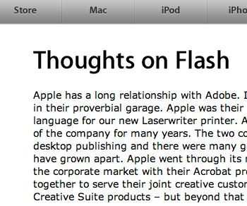 "Steve Jobs: ""Gedanken über Adobe Flash"""