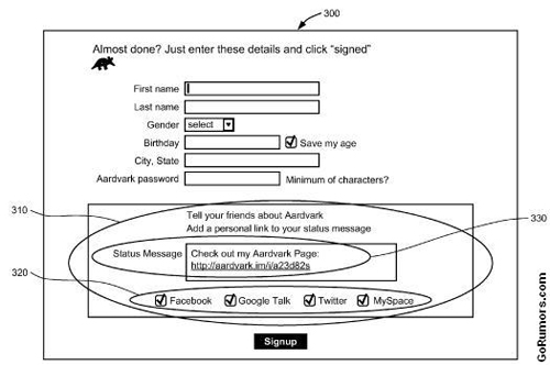 vark Google Patent Application: Wants to own social media invites to web services