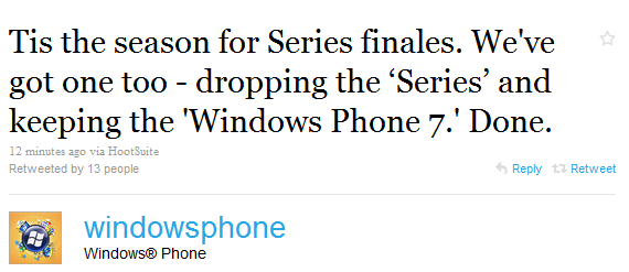 "Microsoft Drops The ""Series,"" New Phones To Be Called ""Windows Phone 7"""