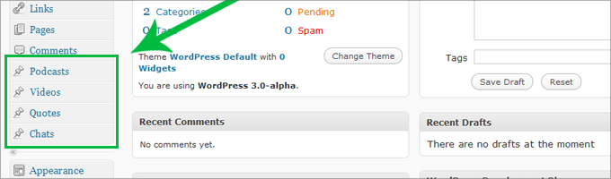 Wordpress 3.0, Custom Post Types