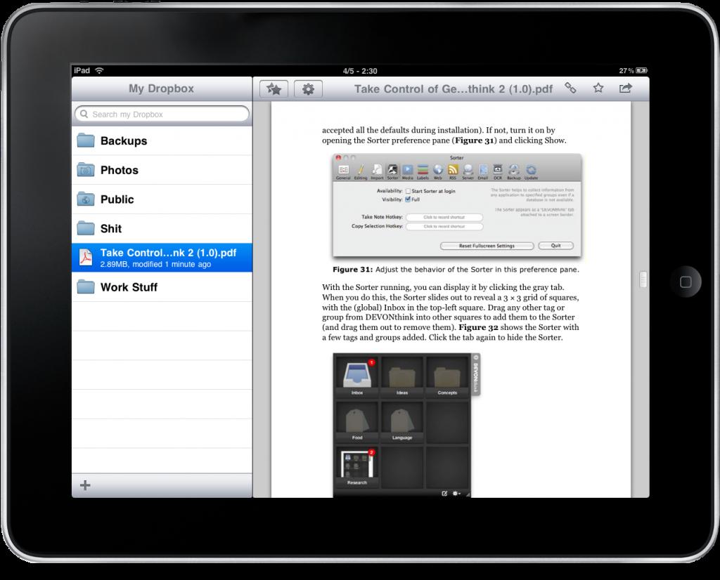 Dropbox iPad 2 1024x826 Dropbox auf dem iPad