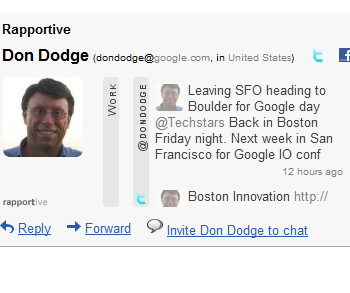 Rapportive Google Apps Screenshot Don Dodge 1 Google Apps Marketplace Enables Contextual Gadgets, The Battle for Gmail Begins