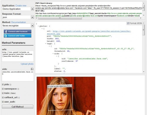 Screen api sandbox 500x390 Face recognition across the web   Face.com gets an API