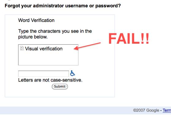 Google Apps visual verification FAIL!