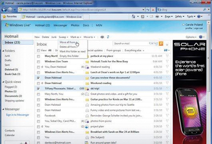 Screenshot des neuen Windows Live Hotmail (Wave 4)